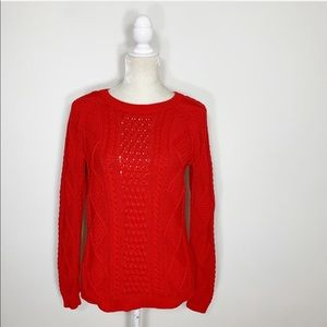 GAP red cable knit crew neck pullover sweater